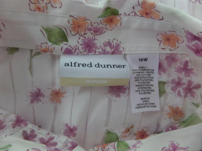 Alfred Dunner Button Down Shirt White with Multi Color Floral Print