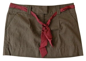 No Boundaries Mini Skirt brown stripped red