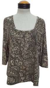 Liz Claiborne Top Brown, Beige & Green Geometric Print