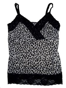 White House | Black Market Leopard Print Top Black, White