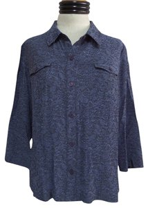 JM Collection Button Down Shirt Blue