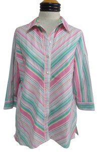Kim Rogers Button Down Shirt Multi Color Striped