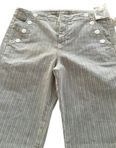 Anthropologie Level 99 Boot Cut Pants grey/white stripe