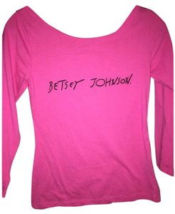 Betsey Johnson Logo Longsleeve Osfa Large Medium T Shirt Pink