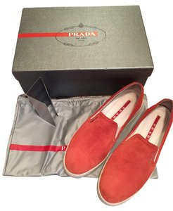 Prada Suede Slip On Fashion Sneakers 3s5802 Size 36 Vermillion vermillion (red) Flats
