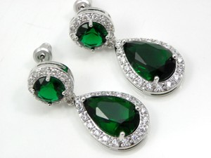 Other Emerald Green Bridal Earrings Cubic Zirconia Teardrop Earrings Sparkly Plum Bridesmaid Wedding Bridal Jewelry Party