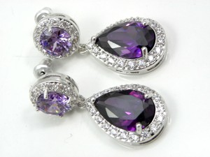 Other Amethyst Purple Bridal Earrings Cubic Zirconia Teardrop Earrings Sparkly Plum Bridesmaid Wedding Bridal Jewelry Party