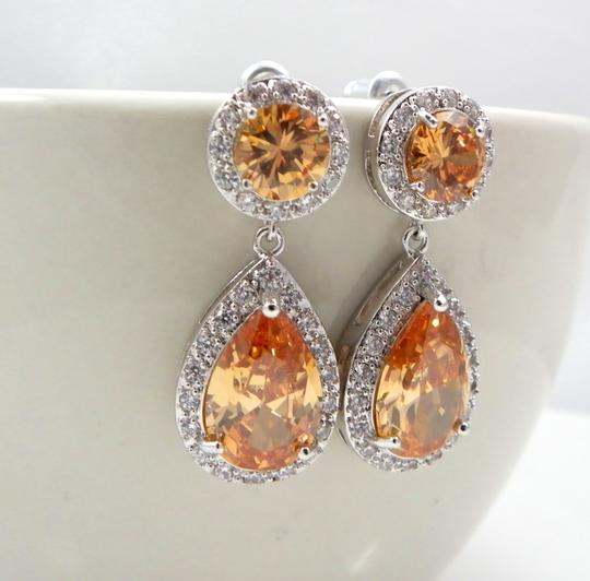 Peach Teardrop Champagne Sparkly Cubic Zirconia Gift Plum Bridesmaid Earrings