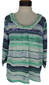 Caribbean Joe Nwt Top Green & Blue Striped