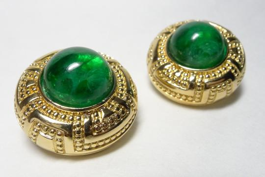Dior Authentic Christian Dior Vintage Emerald Glass Art Deco Clip Earrings
