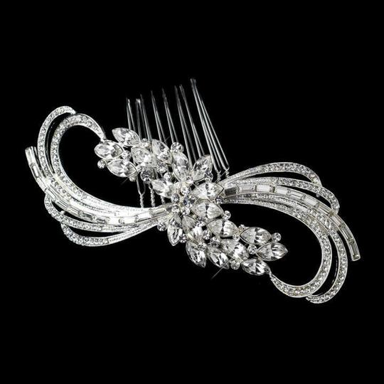 Elegance by Carbonneau Silver Stunning Baguette Rhinestone Comb Hair Accessory