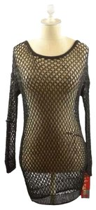 Theory Tarana Fishnet Over-blouse Top Black