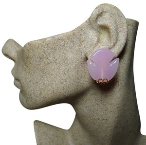 Dior Authentic Christian Dior 1970 Vintage Pink Glass Tulip Motif Clip Earrings