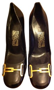 Salvatore Ferragamo Leather Gold Hardwear Black Pumps