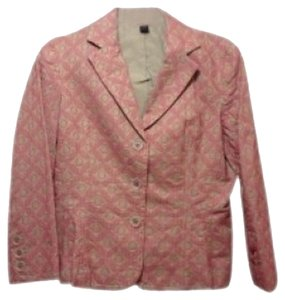 Express Tan Cotton Pink Stitching 3/4 Length Slee tan/pink Blazer