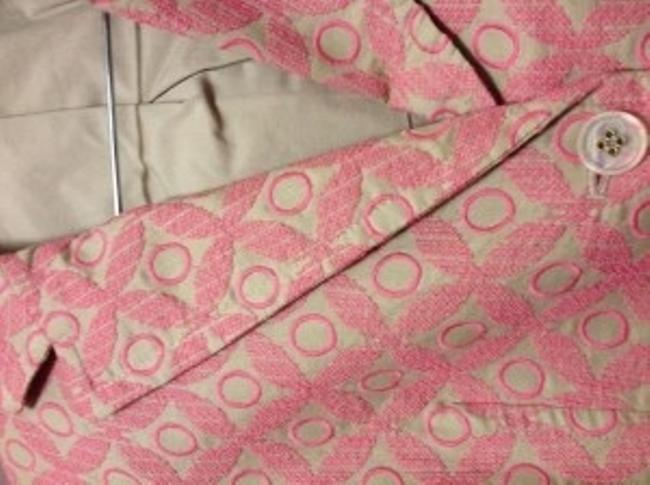 Express Cotton Stitching 3/4 Length Slee tan/pink Blazer