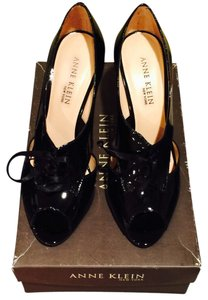 Anne Klein Leather Peep Toe Black Patent Pumps
