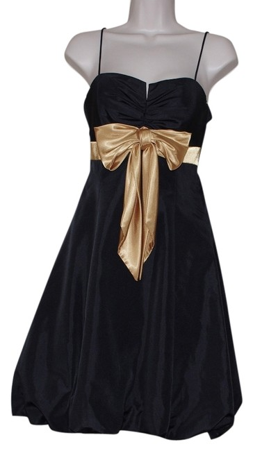 Item - Black Gold By Joanna Chen Bow Strap Knee Length Formal Dress Size 6 (S)