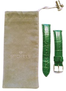 Michele Michelle Green Alligator impression Leather 18 mm Watch Band MS18AA010325