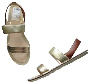 Eileen Fisher New Leather tan gold Sandals