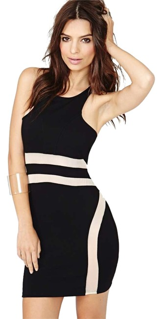 Item - Black/Nude Black/Nude Body-hugging Party Above Knee Night Out Dress Size 4 (S)