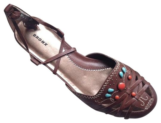 Bronx New Leather Tribal brown Sandals