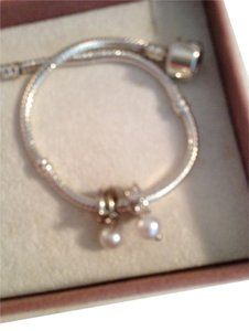 Bella & Chloe Set of 2 Dangling Sterling Silver Pearl Charms, 4mm hole, for European Style Charm Bracelets