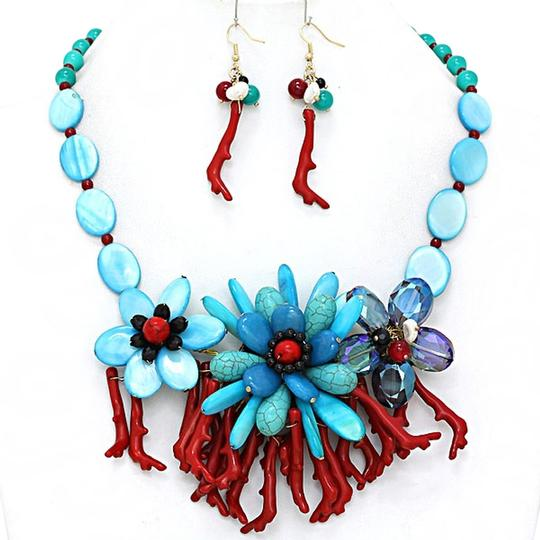 Preload https://item1.tradesy.com/images/aqua-turquoise-blue-red-multicolor-crystal-coral-reef-bouquet-and-earring-necklace-3011845-0-0.jpg?width=440&height=440
