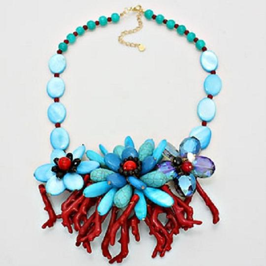 Other Crystal MOP Multicolor Turquoise Coral Reef Bouquet Necklace and Earring