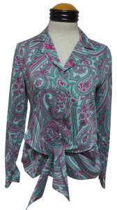 Jones New York Button Down Shirt Green and Pink Paisley Print