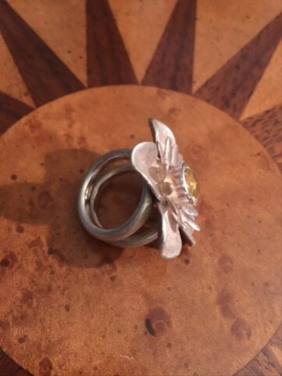 Marietta Large Handcrafted Sterling Silver And Citrine Ring
