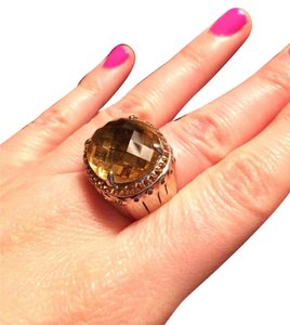 John Hardy Batu Bamboo Ring in Sterling Silver, Honey Citrine, and Honey Citrine