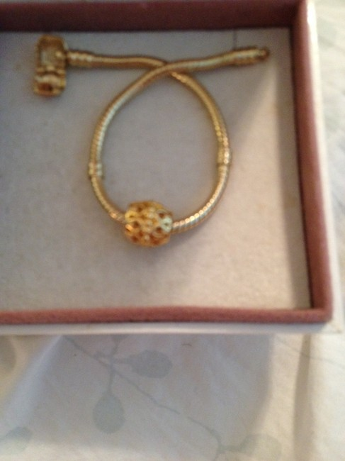 Item - Gold Bracelet and Plated European Style Bracelet with Plated Barrel 4mm Hole. Charm