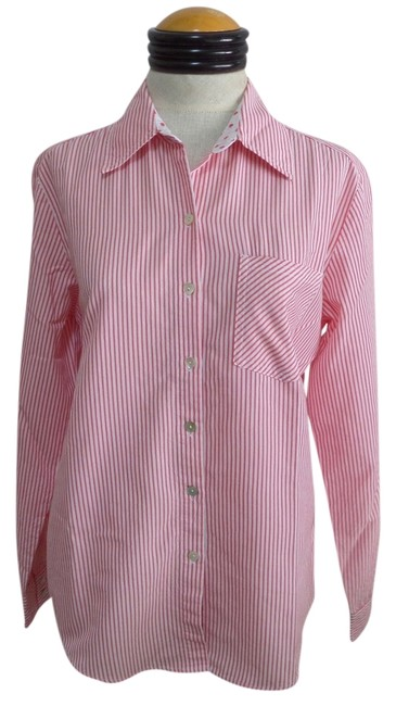 Chico's Button Down Shirt Red and White Striped