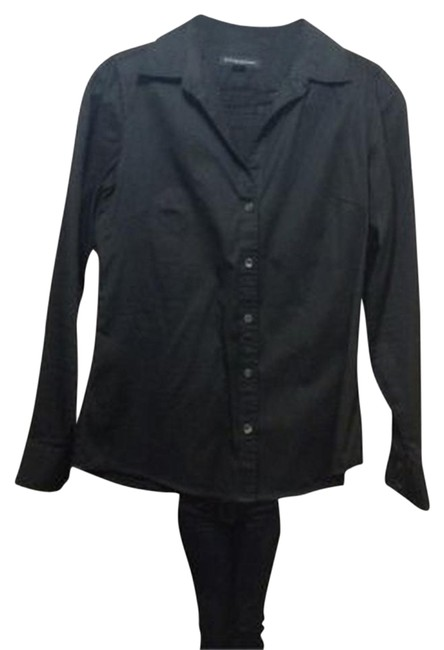 Banana Republic Long Sleeve Dress Shirt 2% Button Down Shirt black