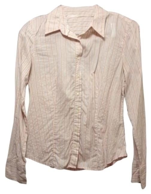 American Eagle Outfitters Button Down Shirt pink w/ blue and maroon pinstripes