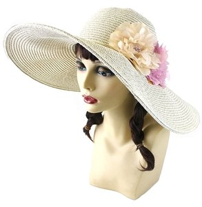 FASHIONISTA Ivory Beige Floral Accent Garden Party Beach Sun Cruise Summer Large Wide Brim Floppy Hat Cap