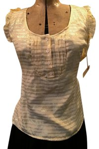 chacharel French Silk Metallic Ruffle Sleeveless Top cream & gold