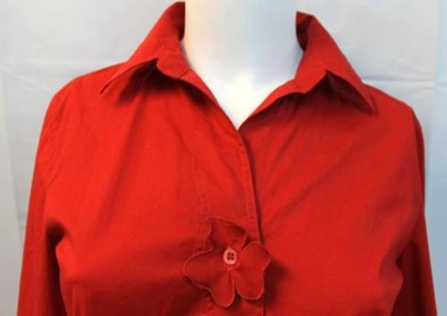Escada Sport Red Blouse Button Down Shirt
