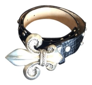 Leatherrock Leather Belt With Fleur De Lis Buckle