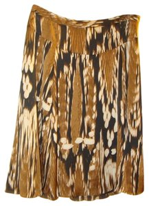 Adrienne Vittadini Safari Tribal Print Silky Full Skirt Multi: Brown, Black, White