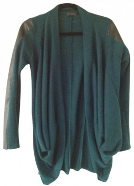 Preload https://item4.tradesy.com/images/zara-teal-with-faux-leather-sleeves-cardigan-size-8-m-30143-0-0.jpg?width=400&height=650