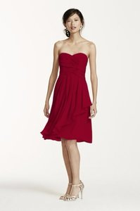 David's Bridal Apple Short Crinkle Chiffon Dress With Front Cascade Dress