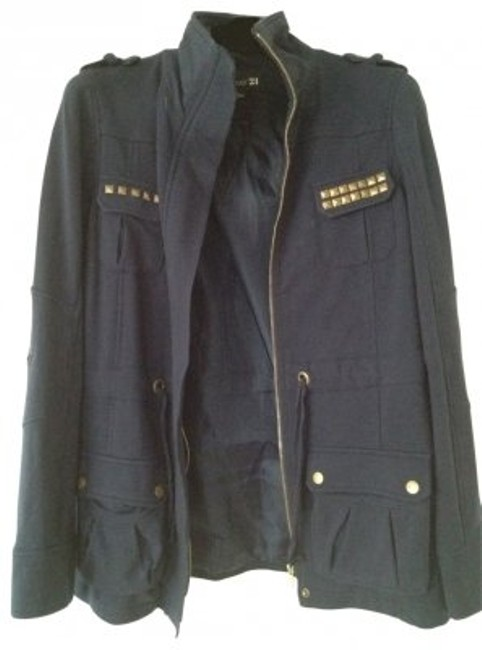 Preload https://item2.tradesy.com/images/forever-21-blue-with-gold-studs-miltary-jacket-size-8-m-30146-0-0.jpg?width=400&height=650