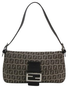 Fendi Zucca Jacquard Gunmetal Leather Zucchino Baguette Canvas Shoulder Bag