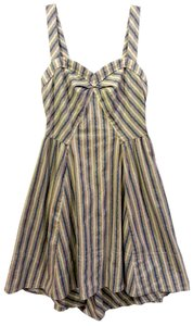 Free People short dress Blue & Tan Stripe Pockets on Tradesy