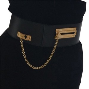 VIKTOR & ROLF Super Sexy Viktor & Rolf black leather belt with Gold Buckle