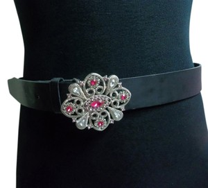 No Boundaries No Boundaries Woman's Black Leather Belt w/Silver Embellished Buckle