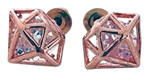 Caged Diamond Stud Earrings 18k Rose Gold Plated