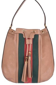 Gucci Rania Camel Leather Red Green Web Bamboo Large Purse Hobo Bag